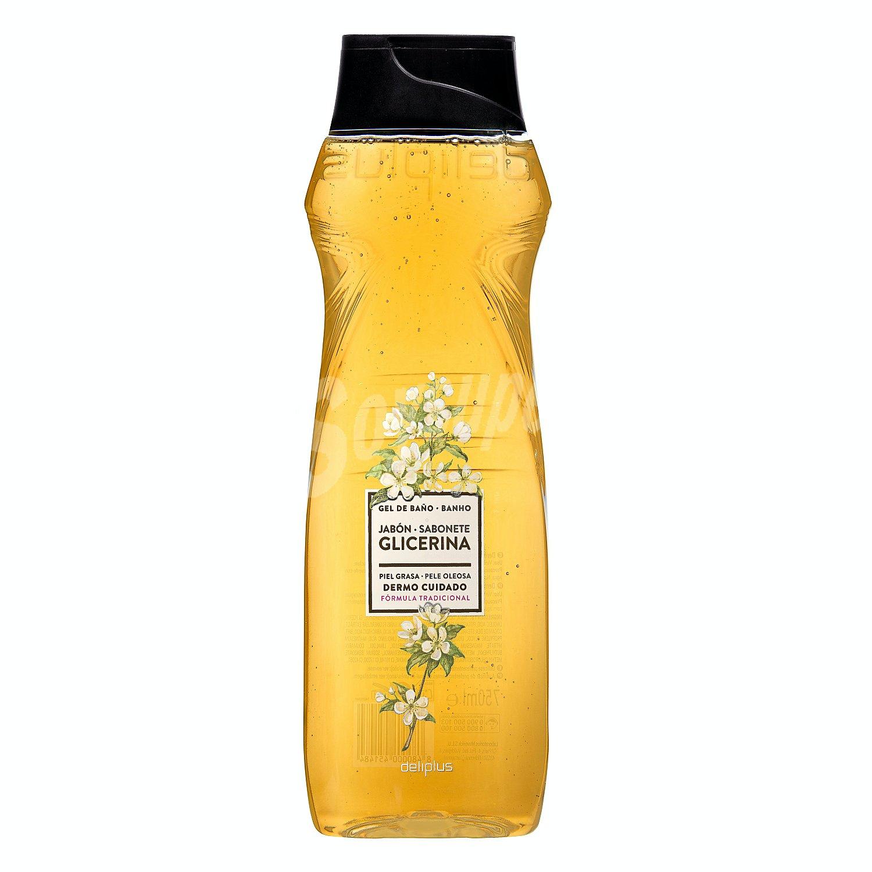 Deliplus Gel Baño Piel Normal Grasa Jabon Natural Glicerina Tomillo Y Aceite De Palma Botella 750 Ml