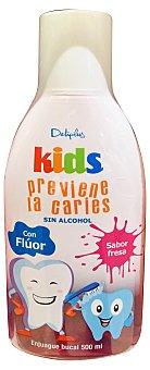Deliplus Enjuague bucal infantil kids +2 años con fluor previene las caries y sin alcohol (sabor fresa) Botella 500 cc