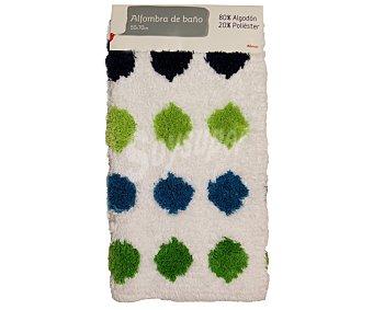 Auchan Alfombra rizo para baño, estampado círculos color verde pistacho, 50x70 centímetros 1 Unidad
