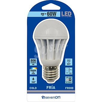 SEVENON 9 W (60 W) lampara LED esferica luz fria casquillo E27