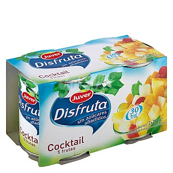 Juver Disfruta cóctel de frutas sin azúcares añadidos neto escurrido Pack 2 latas 215 g