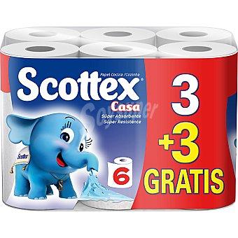 Scottex Rollos de cocina Casa superabsorbente paquete 3 rollos + 3 gratis Paquete 3 rollos
