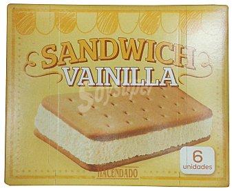Hacendado Helado sandwich vainilla 6 u Caja 600 cc