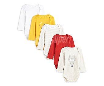 In Extenso Lote de 5 bodies de algodón para bebé Talla 80.