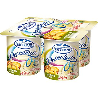 Central Lechera Asturiana Yogur 0% con piña Pack 4x125 g