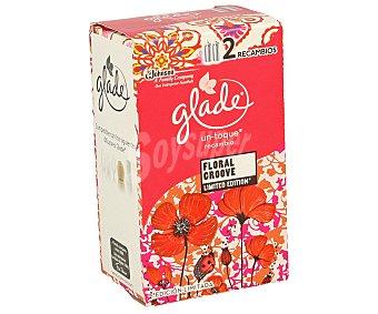Glade Brise Recambio de ambientador mini spray esencia Floral Groove (explosión floral) glade UN toque 2 unidades. Este tipo de recambios de ambientadores un toque son para el difusor de un toque 2 unidades