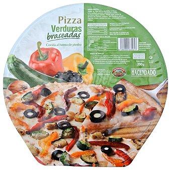 Hacendado Pizza congelada verduras braseadas (pimiento, calabacin, aceituna negra) u 390 g
