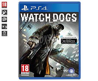 ACCIÓN Videojuego Watch Dogs para PS4. Género: Aventura / Acción. Recomendación por edad pegi: +18