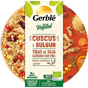 Gerblé Cuscús y bulgur ecológico con tiras de soja aliñadas con miel bol con hierbas aromáticas y pasas 220 g