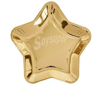 Actuel Pack de 6 platos en color dorado, forma de estrella, actuel. Pack de 6 platos