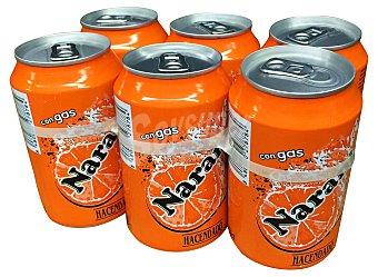 Hacendado Naranja con gas Pack 6 latas de 330 ml