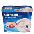 Yogur cremoso de fresa - Sin Gluten Pack 4x125 g Carrefour