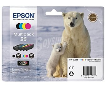 EPSON Oso Polar Cartuchos Multipack 26 Compatible con impresoras: XP-600 / XP-605 / XP-700 / XP-800