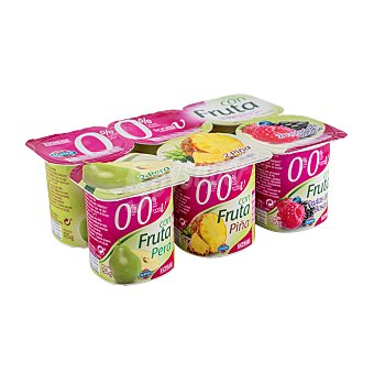 Hacendado Yogur desnatado trozos 2 piña, 2 pera, 2 f.bosque Pack 6 x 125 g - 750 g