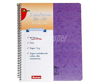 Auchan Cuaderno DIN A4 folio, 80 hojas de 70 gramos, tapas de cartulina de alta resistencia, microperforado con encuadernación con espiral metálica 1 unidad