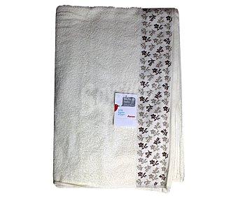 AUCHAN Toalla 100% algodón para baño, estampado jacquard color crema, 100x150 centímetros 1 Unidad