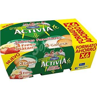 Activia Danone Yogur + sabor fresa-plátano + 3 yogur sabor galleta Pack 6 unidades 125 g