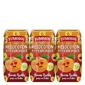 Zumosol Zumo de melocotón y uva exprimida Pack 3 briks x 200 ml